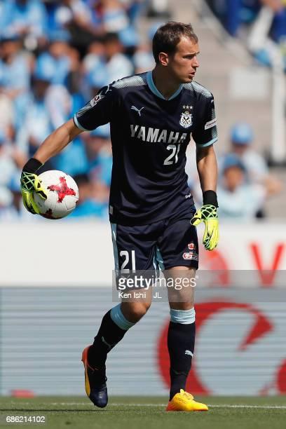 Krzysztof Kaminski of Jubilo Iwata in action during the JLeague J1 match between Jubilo Iwata and Kashiwa Reysol at Yamaha Stadium on May 20 2017 in...