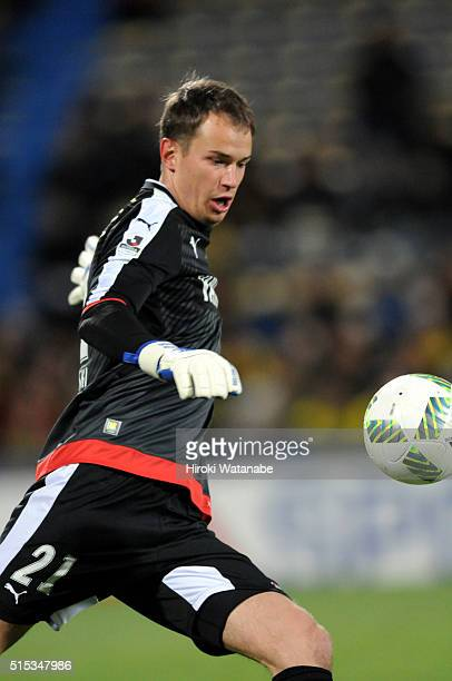 Krzysztof Kaminski of Jubilo Iwata in action during the JLeague match between Kashiwa Reysol and Jubilo Iwata at the Hitachi Kashiwa Soccer Stadium...