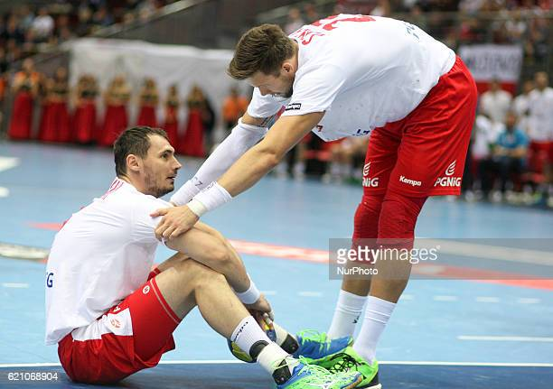 Krzysztof Lijewski Kamil Syprzak in action during the 2018 Men's European Championship Qualification match between Poland v Serbia at ERGO Arena...