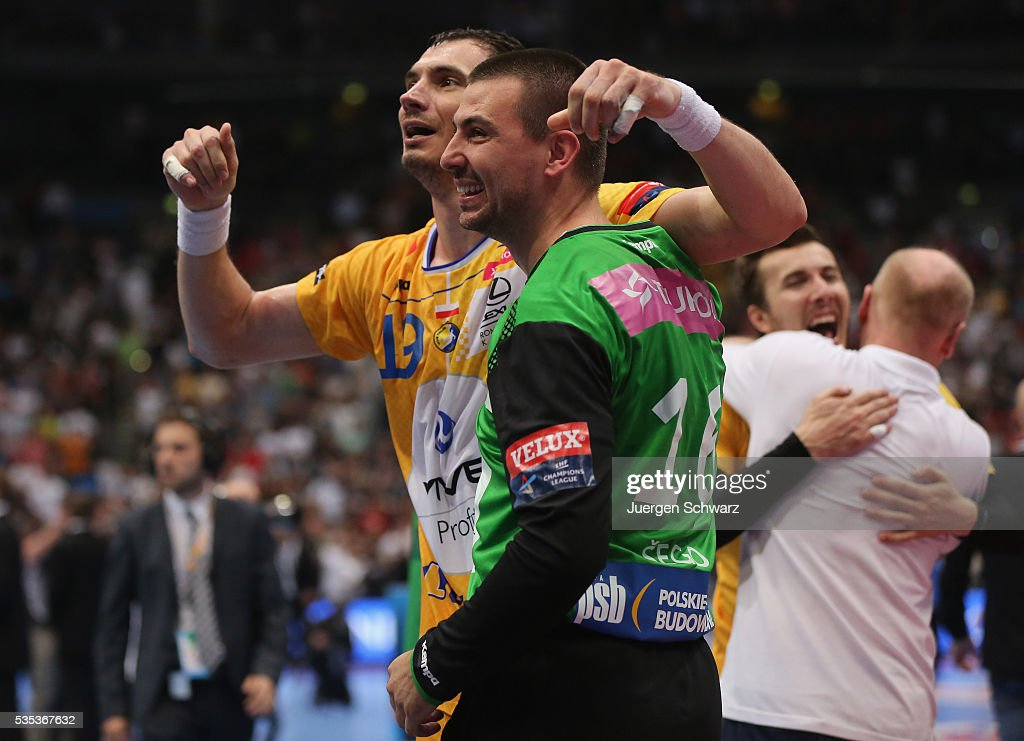 Krzysztof Lijewski of Kielce and goalkeeper Marin Sego celebrate after winning the EHF Champions League Final against MKB Veszprem on May 29 2016 in...