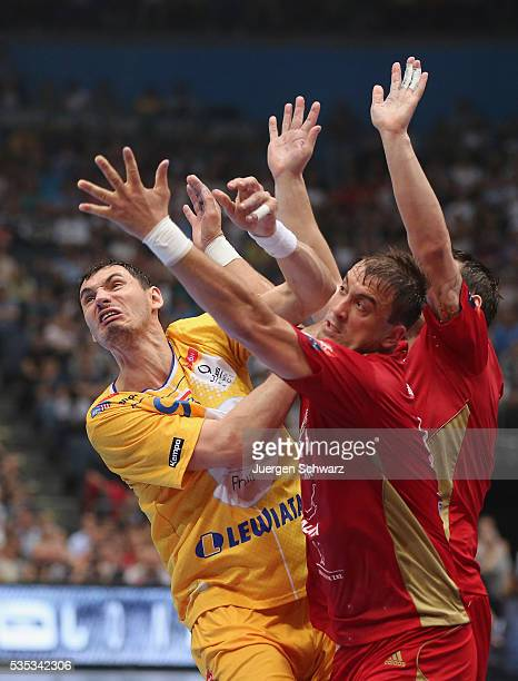 Krzysztof Lijewski of Kielce and Momir Ilic of Veszprem awaits the ball during the EHF Champions League Final between KS Vive Tauron Kielce and MKB...