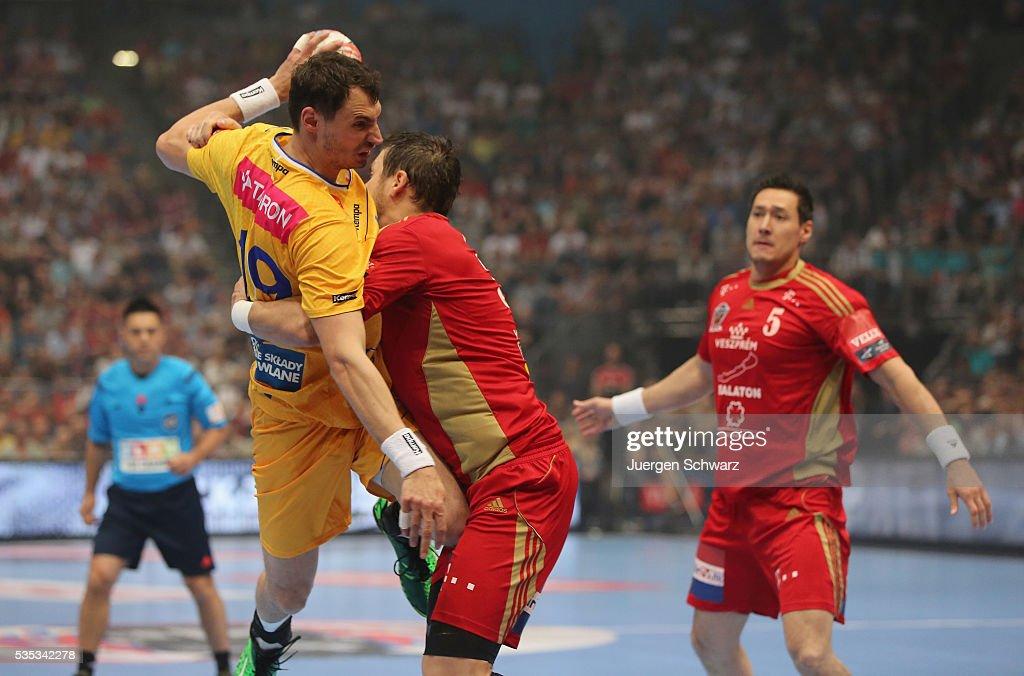 Krzysztof Lijewski of Kielce is blocked during the EHF Champions League Final between KS Vive Tauron Kielce and MKB Veszprem on May 29 2016 in...