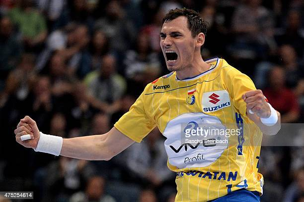 Krzysztof Lijewski of Kielce reacts during the 'VELUX EHF FINAL4' semi final match FC Barcelona and KS Vive Tauron Kielce at Lanxess Arena on May 30...