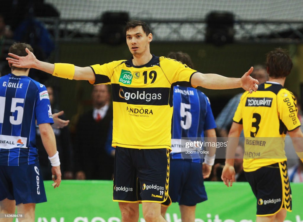 Krzysztof Lijewski of Rhein-Neckar Loewen gestures during the Toyota Bundesliga handball game between HSV Hamburg and Rhein-Neckar Loewen at the O2 World on April 10, 2012 in Hamburg, Germany.