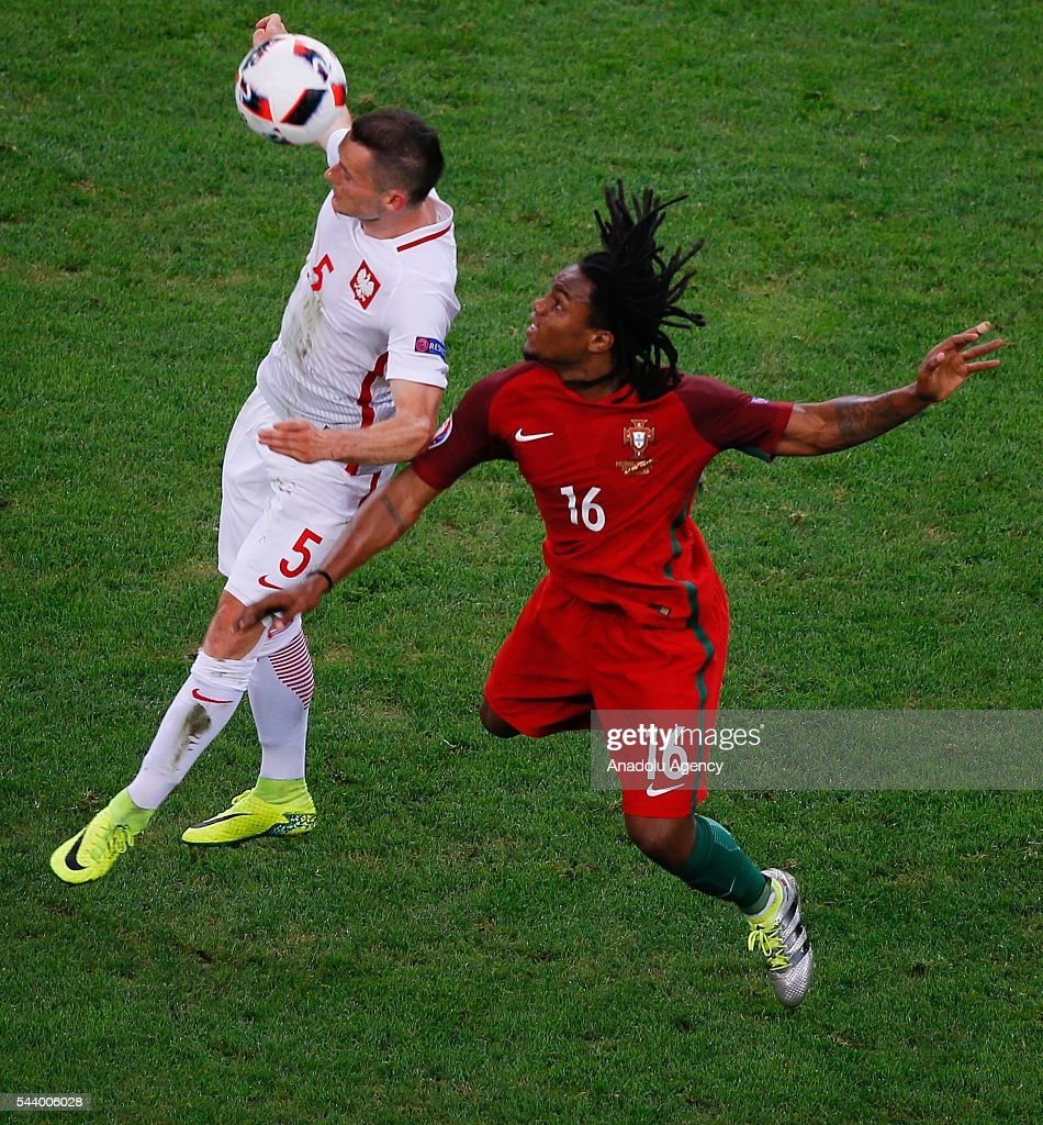 Krzysztof Maaczynnski (5) of Poland in action against Renato Sanches (16) of Portugal during the Euro 2016 quarter-final football match between Poland and Portugal at the Stade Velodrome in Marseille, France on June 30, 2016.