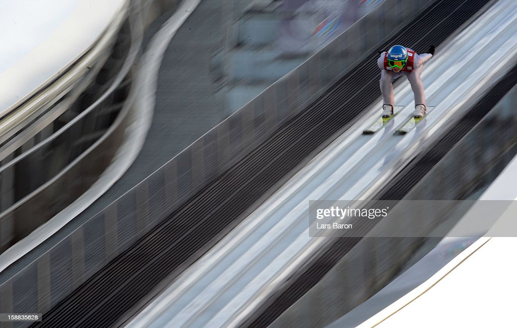 Krzysztof Mietus of Poland competes during the qualification round for the FIS Ski Jumping World Cup event at the 61st Four Hills ski jumping tournament at Olympiaschanze on December 31, 2012 in Garmisch-Partenkirchen, Germany.