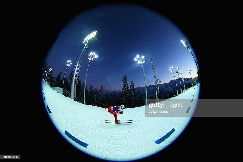 Krzysztof Plywaczyk of Poland practices ahead of the Sochi 2014 Winter Olympics at the Laura Cross-Country Ski and Biathlon Center on February 5, 2014 in Sochi, Russia.