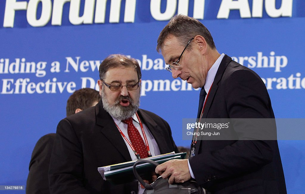 Krzysztof Stanowski deputy Minister of Foreign Affairs of Poland and Andris Piebalgs EU Commissioner attend at the press conference during the 4th...