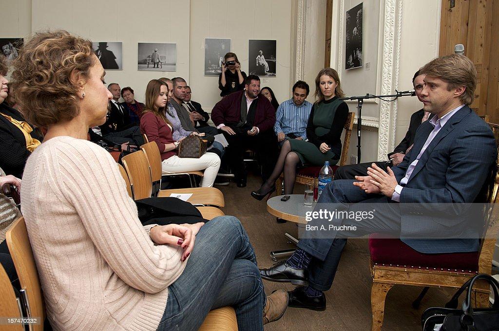 Ksenia Sobchak and Vladimir Ashurkov in Conversation at Pushkin House on December 3, 2012 in London, England.