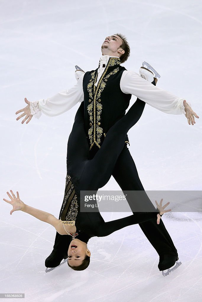 Ksenia Stolbova and Fedor Klimov of Russia skate in Pairs Short Program during Cup of China ISU Grand Prix of Figure Skating 2012 at the Oriental Sports Center on November 2, 2012 in Shanghai, China.
