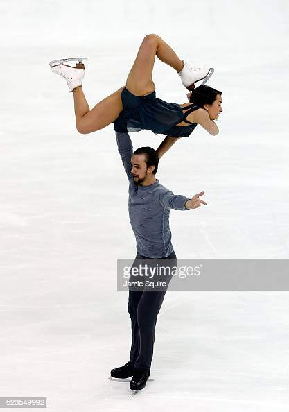 Ksenia Stolbova and Fedor Klimov of Team Europe compete in the Pairs Free Skate on day 2 of the 2016 KOSE Team Challenge Cup at Spokane Arena on...