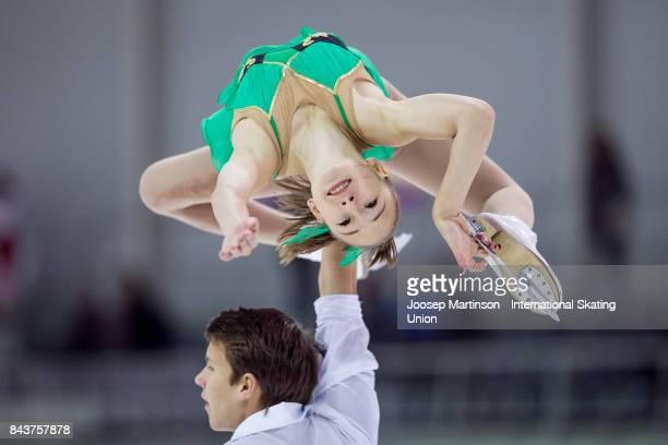 Kseniia Akhanteva and Valerii Kolesov of Russia compete in the Junior Pairs Short Program during day 1 of the Riga Cup ISU Junior Grand Prix of...