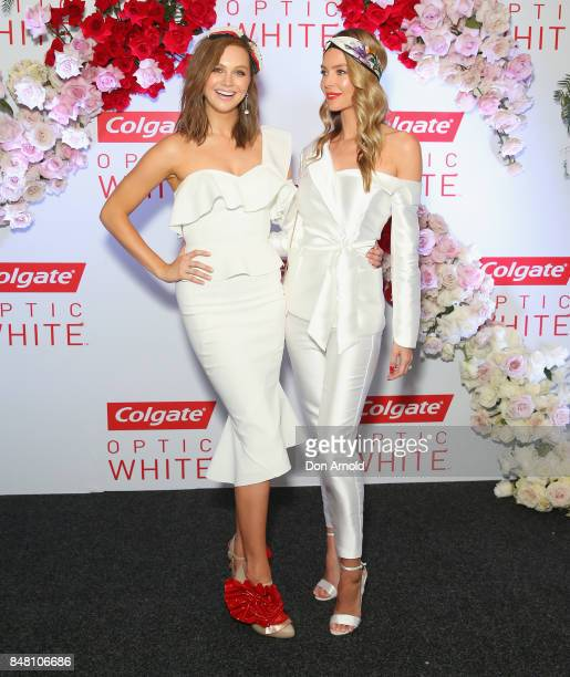 Ksenija Lukich and Jennifer Hawkins attend Colgate Optic White Stakes Day at Royal Randwick Racecourse on September 16 2017 in Sydney Australia