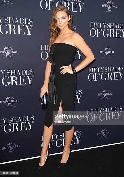 Ksenija Lukich arrives at the 'Fifty Shades of Grey' screening at the Entertainment Quarter on February 11 2015 in Sydney Australia