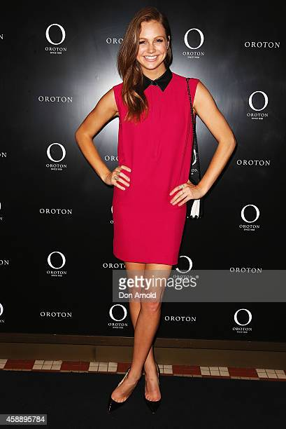 Ksenija Lukich arrives for the celebration of Rose Byrne as the new face of Oroton at Oroton Boutique Queen Victoria Building on November 13 2014 in...