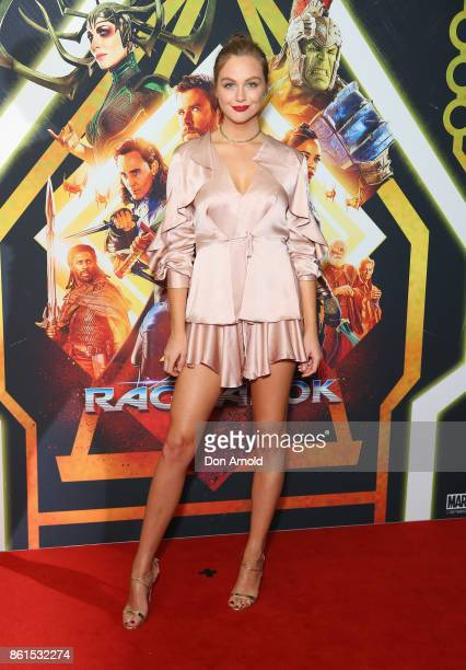 Ksenija Lukich arrives for the premiere screening of Thor Ragnarok Sydney at Fox Studios on October 15 2017 in Sydney Australia