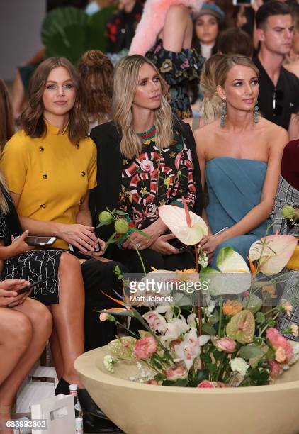 Ksenija Lukich Nikki Phillips Anna Heinrich sit front row at the C/meo Collective show at MercedesBenz Fashion Week Resort 18 Collections at...