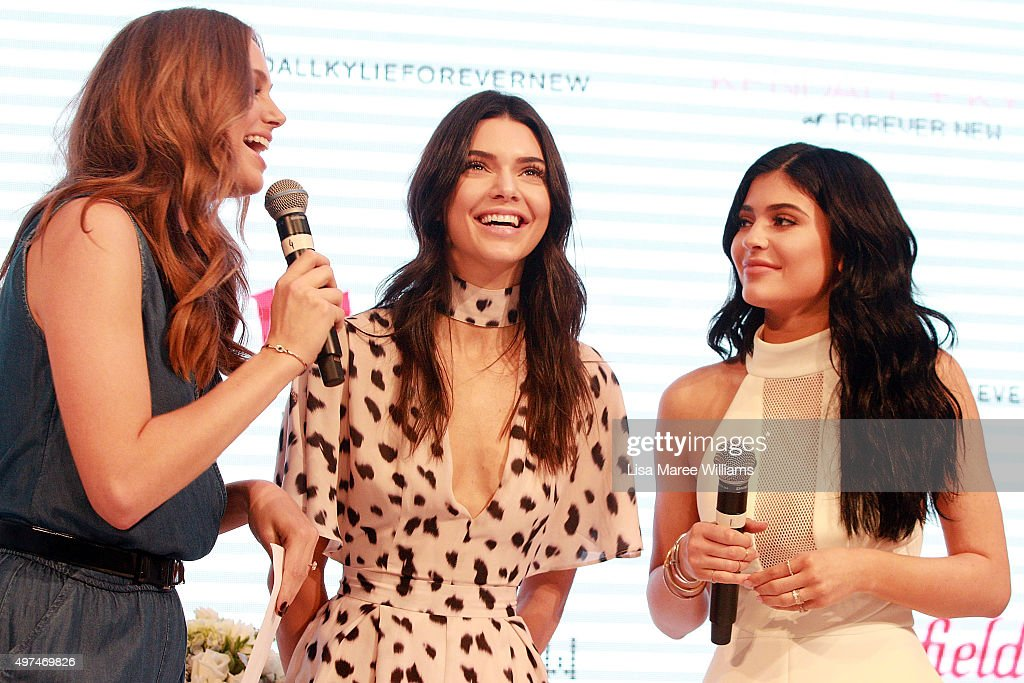 Ksenija Lukich welcomes Kendall Jenner and Kylie Jenner to the stage at Westfield Parramatta on November 17, 2015 in Sydney, Australia.
