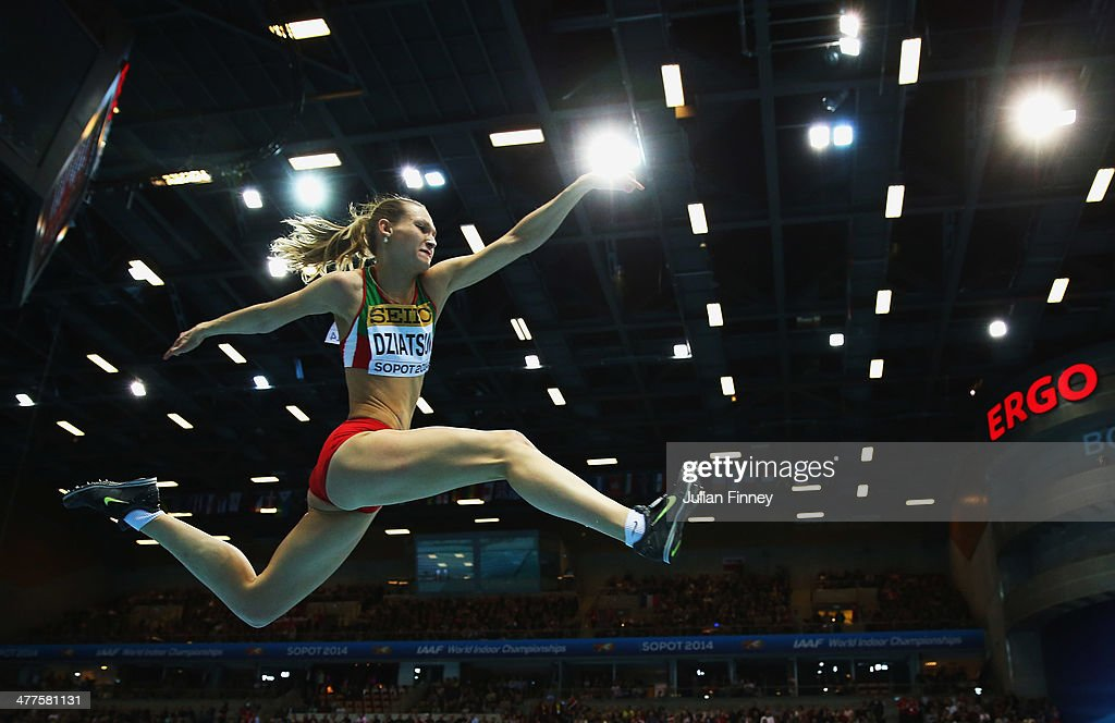 Kseniya Dziatsuk of Belarus competes in the Women's Triple Jump Final during day two of the IAAF World Indoor Championships at Ergo Arena on March 8, 2014 in Sopot, Poland.