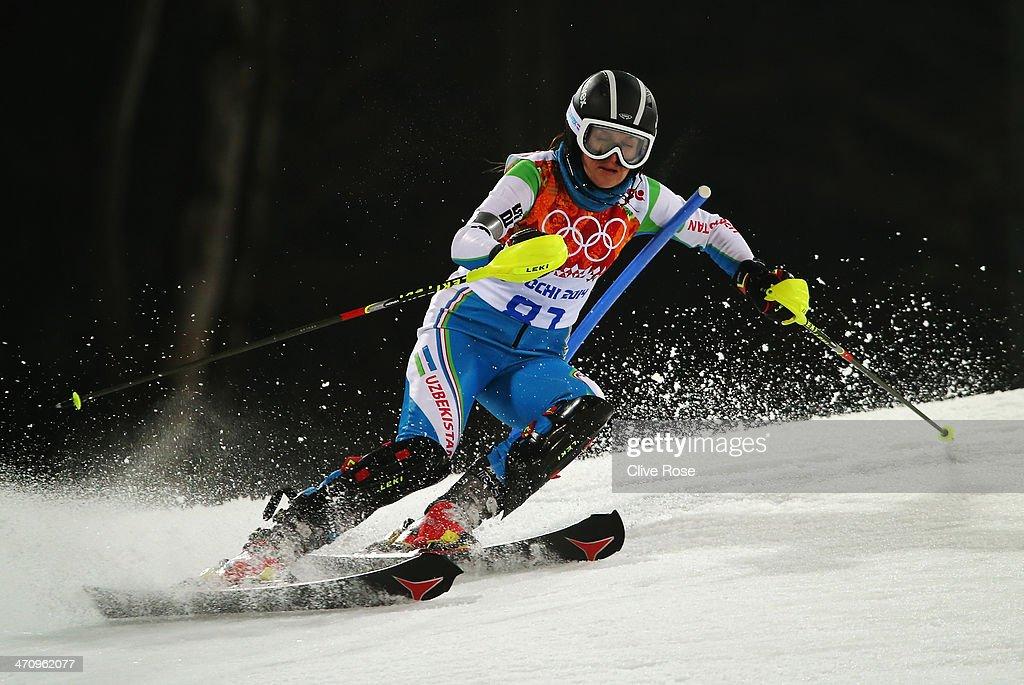 Kseniya Grigoreva of Uzbekistan in action during the Women's Slalom during day 14 of the Sochi 2014 Winter Olympics at Rosa Khutor Alpine Center on February 21, 2014 in Sochi, Russia.