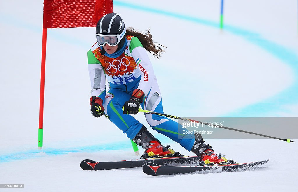 Kseniya Grigoreva of Uzbekistan makes a run during the Alpine Skiing Women's Giant Slalom on day 11 of the Sochi 2014 Winter Olympics at Rosa Khutor Alpine Center on February 18, 2014 in Sochi, Russia.