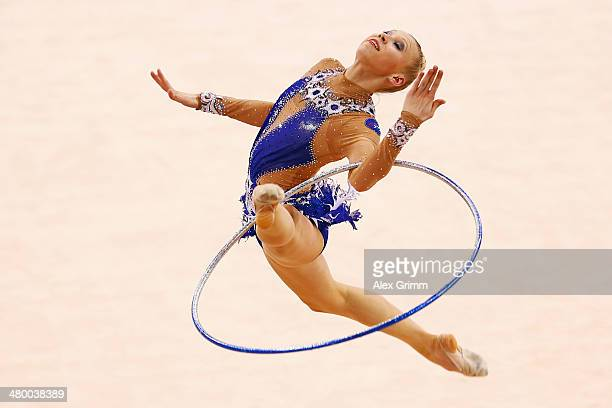 Kseniya Moustafaeva of France performs with the hoop during individual competition of the GAZPROM World Cup Rhythmic Gymnastics at Porsche Arena on...