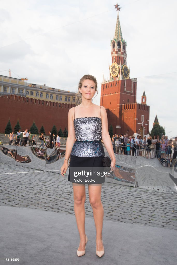 Kseniya Sobchak attends the Dior A/W 2013-2014 show at Red Square on July 9, 2013 in Moscow, Russia.