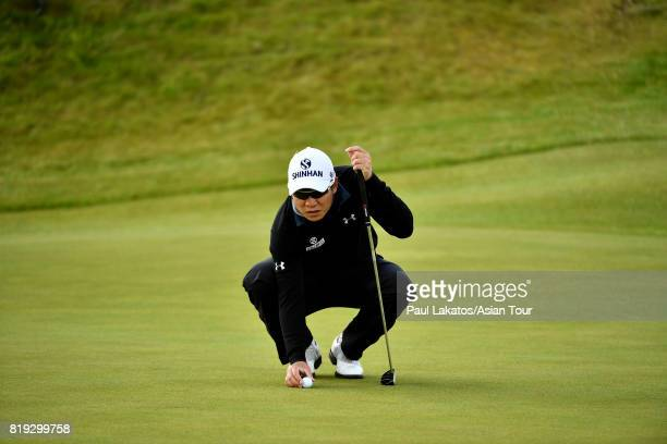 Kim lines up a putt on hole 2 during the first round of the 146th Open Championship at Royal Birkdale on July 20 2017 in Southport England