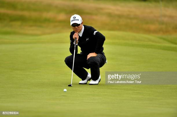Kim of Korea lines up a putt on hole 3 at Royal Birkdale on July 21 2017 in Southport England
