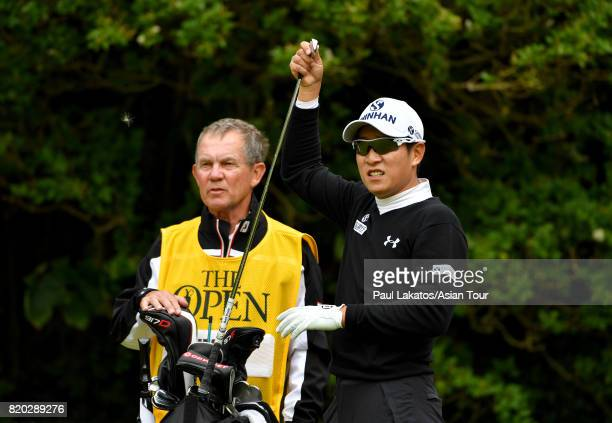 Kim of Korea pulls a club on hole 4 at Royal Birkdale on July 21 2017 in Southport England