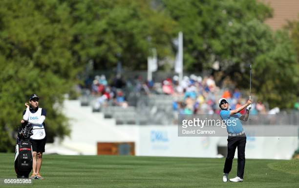 Kim of South Korea plays his second shot on the par 4 first hole in his match against Russell Knox during the second round of the 2017 Dell Match...
