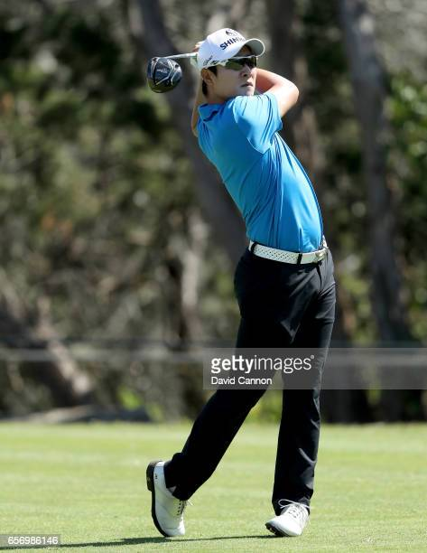 Kim of South Korea plays his tee shot on the par 4 second hole in his match against Russell Knox during the second round of the 2017 Dell Match Play...