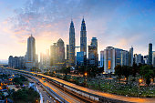 Kuala lumper city skyline in the morning, Malaysia skyline, Malaysia