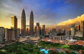 Kuala Lumpur city centre sunset view