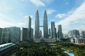 Kuala Lumpur cityscape with Petronas Twin towers.
