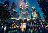 Petronas twin towers in KLCC district Kuala Lumpur