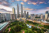 Sunset city skyline. Kuala Lumpur, Malaysia. Aerial view