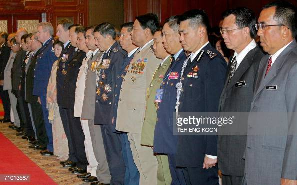 Delegation of the Association of Southeast Asian Nations National Chiefs of Police Conference observe a minute of silence for fallen police heroes at...
