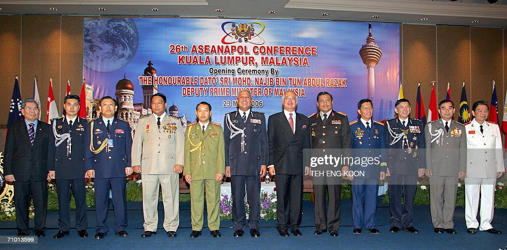 Malaysian Deputy Prime Minister Najib Tun Abdul Razah pose with delegation of the Association of Southeast Asian Nations National Chiefs of Police...