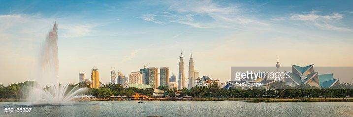 Kuala Lumpur Petronas Towers landmark cityscape skyscrapers fountain sunset Malaysia