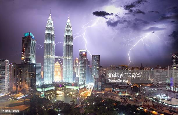 Kuala Lumpur skyline at night storm