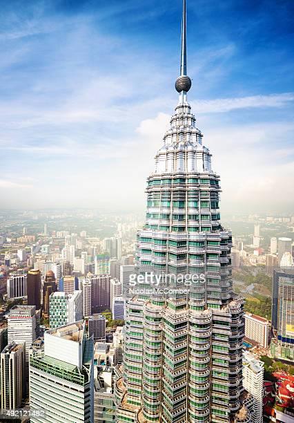Kuala Lumpur skyline featuring top of Petronas Tower