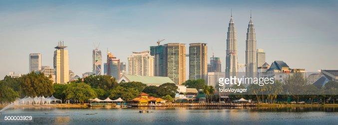 Kuala Lumpur sunset cityscape panorama Petronas Towers downtown skyscrapers Malaysia