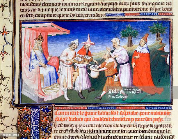Kublai Khan paying for purchases c1260s Marco Polo Venetian traveller and merchant left Venice with his father and uncle in 1271 Seventeen years...