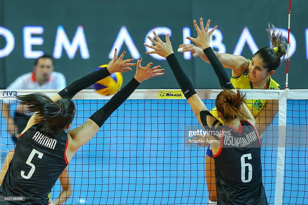 Kubra Akman (5) of Turkey in action during the 2016 FIVB Volleyball World Grand Prix Women's match between Turkey and Brazil at the TVF Baskent Sports Hall in Ankara, Turkey on June 26, 2016.