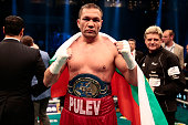 Kubrat Pulev of Bulgaria celerate after Heavyweight European Championship between Kubrat Pulev and Dereck Chisora at Barclaycard Arena on May 7 2016...