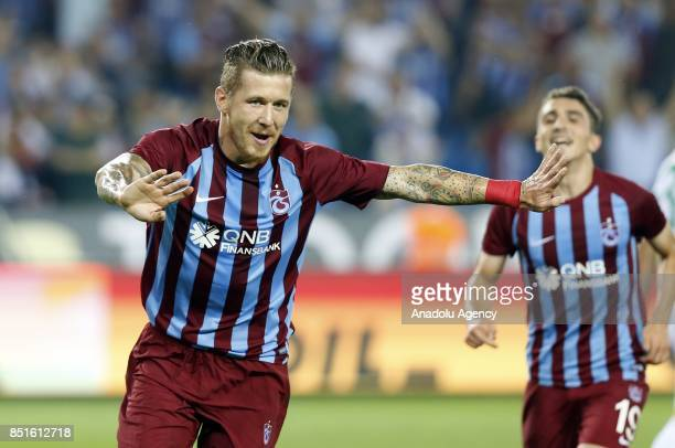 Kucka of Trabzonspor celebrates after scoring a goal during the Turkish Super Lig's sixth week soccer match between Trabzonspor and Aytemiz...