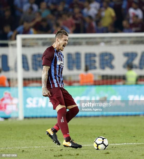 Kucka of Trabzonspor gestures during the Turkish Super Lig week 6 soccer match between Trabzonspor and Aytemiz Alanyaspor at Medical Park Stadium in...