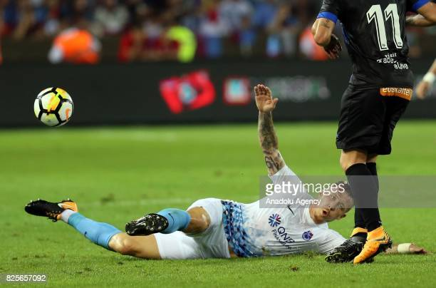 Kucka of Trabzonspor in action during the football match between Trabzonspor and Deportivo Alaves within the 50th foundation anniversary of...