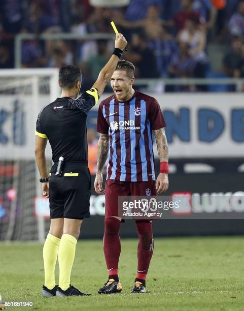 Kucka of Trabzonspor reacts to referee during the Turkish Super Lig week 6 soccer match between Trabzonspor and Aytemiz Alanyaspor at Medical Park...